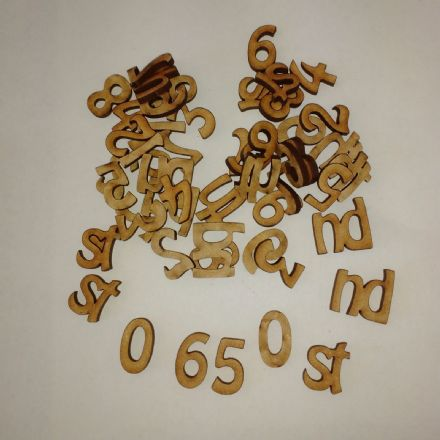 wooden craft shapes numbers(2 cm) 0-9 x 12 plus st nd rd th  laser cut 3 mm MDF